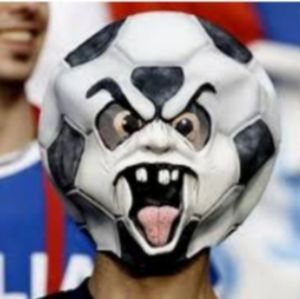 Scary Soccer Face Mask Black White One Size